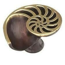 Schaub & Company Symphony  Nature Collection Cabinet  Knob, Shell, Right, Polished Brass, Dark Bronze, 1-1/2