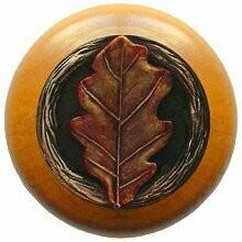 Notting Hill Cabinet Knob Oak Leaf/Maple Brass Hand Tinted 1-1/2