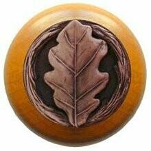 Notting Hill Cabinet Knob Oak Leaf/Maple Antique Copper 1-1/2