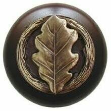Notting Hill Cabinet Knob Oak Leaf/Dark Walnut Antique Brass 1-1/2