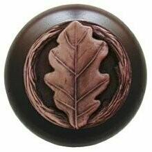 Notting Hill Cabinet Knob Oak Leaf/Dark Walnut Antique Copper 1-1/2