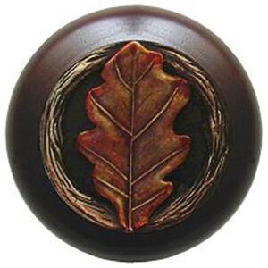 Notting Hill Cabinet Knob Oak Leaf/Dark Walnut Brass Hand Tinted 1-1/2