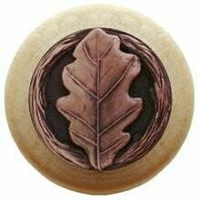 Notting Hill Cabinet Knob Oak Leaf/Natural Antique Copper 1-1/2