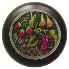 Notting Hill Cabinet Knob Tuscan Bounty/Dark Walnut Brass Hand Tinted 1-1/2
