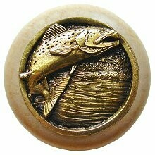 Notting Hill Cabinet Knob Leaping Trout/Natural Antique Brass 1-1/2