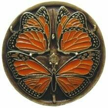 Notting Hill Cabinet Hardware Monarch Butterflies Brass Enameled 1-3/8