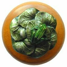 Notting Hill Cabinet Knob Leap Frog/Maple Pewter Hand Tinted  1-1/2