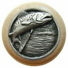 Notting Hill Cabinet Knob Leaping Trout/Natural Antique Pewter 1-1/2