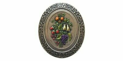 Notting Hill Cabinet Knob Fruit Bouquet Brite Nickel Hand Tinted 1-3/16