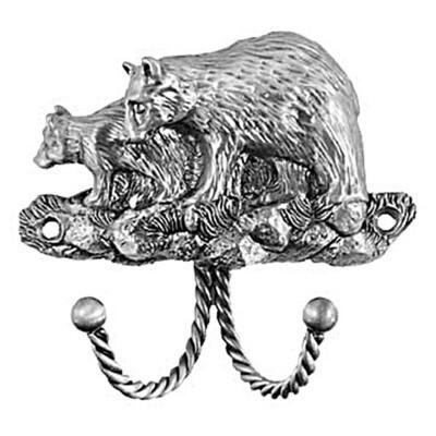 Sierra Lifestyles / Big Sky Cabinet Hardware Decorative Hook - Black Bear - Pewter