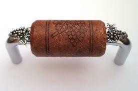 Vine Designs Chrome Cabinet Handle, mahogany cork, silver grapes accents
