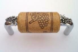 Vine Designs Chrome Cabinet Handle, oak cork, silver grapes accents