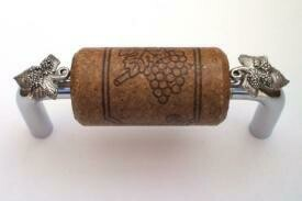 Vine Designs Chrome Cabinet Handle, espresso cork, silver leaf accents
