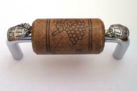 Vine Designs Chrome Cabinet Handle, espresso cork, silver barrel accents