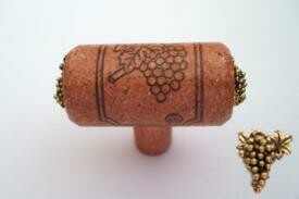 Vine Designs Cherry Stem Cabinet knob, matching cork, gold grape accents