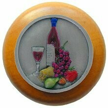 Notting Hill Cabinet Knob Best Cellar Wine/Maple Pewter Hand Tinted 1-1/2