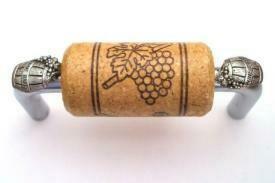 Vine Designs Brushed Chrome Cabinet Handle, oak cork, silver barrel accents