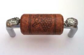 Vine Designs Brushed Chrome Cabinet Handle, mahogany cork, silver barrel accents