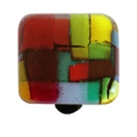 Hot Knobs Glass Cabinet Knob, Mosaic Multiple Color