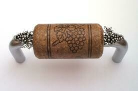 Vine Designs Brushed Chrome Cabinet Handle, expresso cork, silver grapes accents