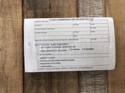 Membership Record Card