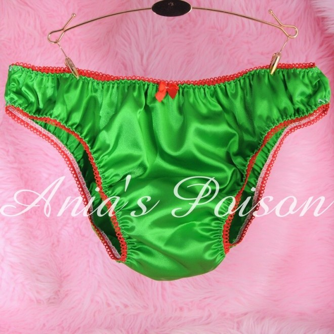 Ania's Poison SATIN Christmas Collection GREEN mens Sissy shiny High Gloss Full bikini panties S- XXL