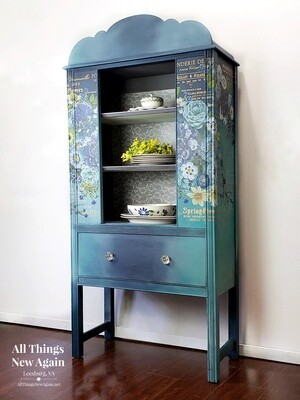 FURNITURE: Boho Blue China Cabinet with Flowers