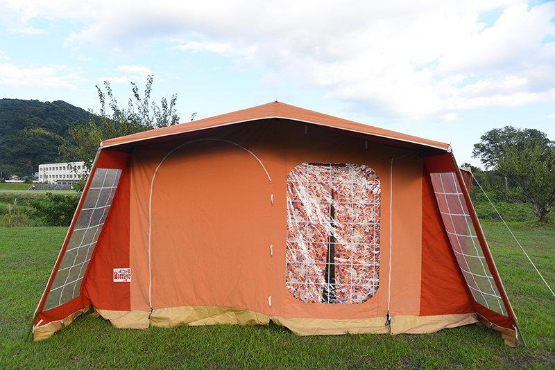 【訳あり】メッサージュ 70年代 ヴィンテージロッジ 5人用 人気 ヴィンテージ幕 フレームテント ピンク オレンジ Messager