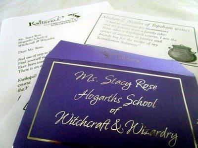 Wizarding Correspondence School Letter & Purple Envelope