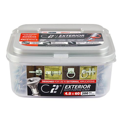4.0mm x 30mm (Tub of 400 screws) Exterior Grade Classic C2 Premium Pozi Countersunk Wood Screws.