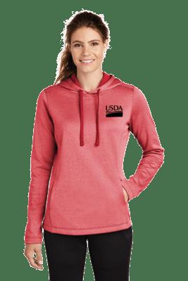 Sport-Tek ® Ladies PosiCharge ® Sport-Wick ® Heather Fleece Hooded Pullover