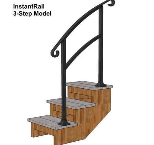 Instantrail – The Original Instantly Adjustable Handrail | Handrails For Concrete Steps Lowes | Vinyl | Double Wide | Portable | Century Concrete | Interior