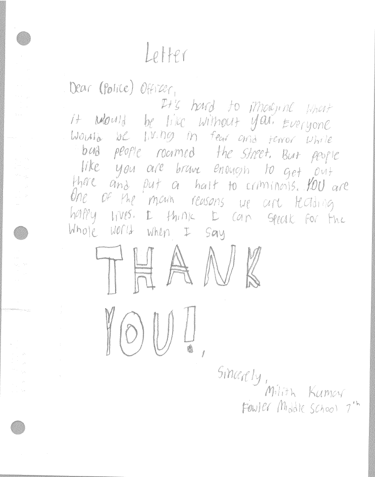 Students at Fowler Middle School Write Letters to Dallas