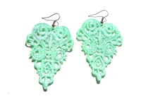 Mint Green Lace Earrings  White Bear