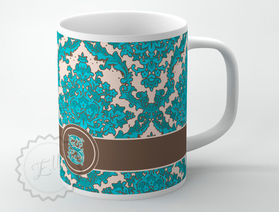 personalized coffee mug turquoise