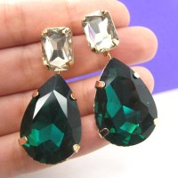 Large Teadrop Dangle Rhinestone Gemstone Stud Earrings ...