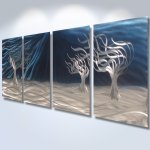 3 Trees Blue Abstract Metal Wall Art Contemporary Modern Decor Inspiring Art Gallery Online Store Powered By Storenvy