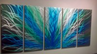 Radiance Large, Green Blue- Metal Wall Art Contemporary ...