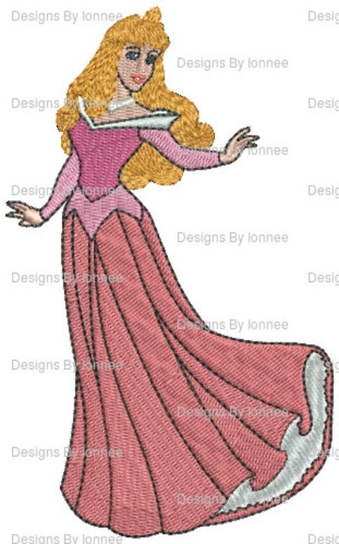 Princess Aurora Machine Embroidery Designs In 2 Sizes On