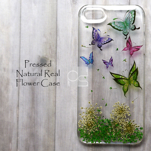 MHD Butterfly Pressed Real Flower Bling Clear Resin Hard