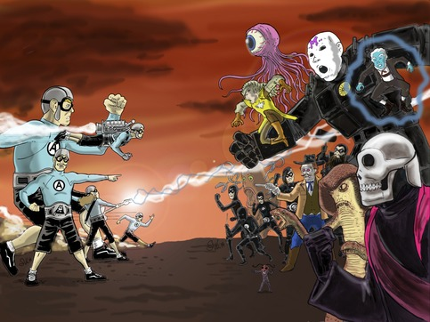 The Aquabats Epic Battle NYCC Print on Storenvy