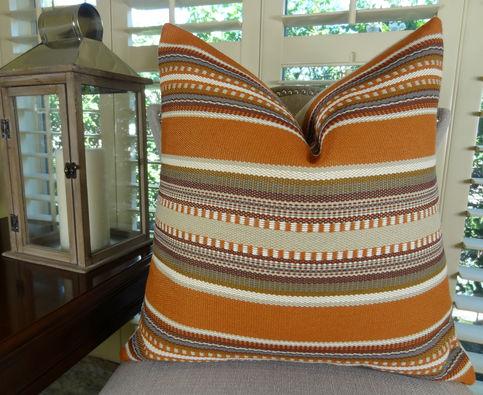 22 x 22 Designer Decorative Throw Pillow  Orange Brown