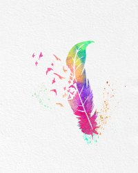 Watercolor Art Print Rainbow Feather Birds Set of 2 Modern ...