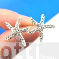 Large Starfish Star Shaped Stud Earrings in Silver with ...