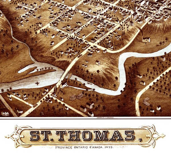 St. Thomas Ontario Canada In 1875 - Bird' Eye View