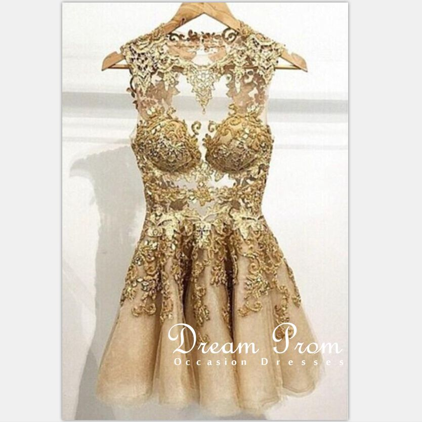 mini prom dress gold