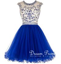 Cute Maroon prom dress,navy bllue A-line round neck short ...