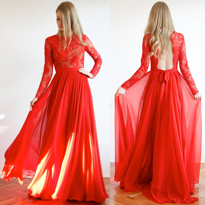 Red lace long sleeve homecoming dress images