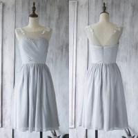 Illusion Short Bridesmaid Dress, Light Gray Bridesmaid ...