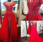 Sweetheart Girl Red Neck Tulle Lace Sequin Long